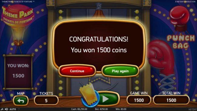 Winzino featuring the Video Slots Theme Park Tickets of Fortune with a maximum payout of $75,300