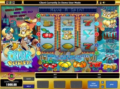 Casiplay featuring the Video Slots Thor Blimey! with a maximum payout of $20,000
