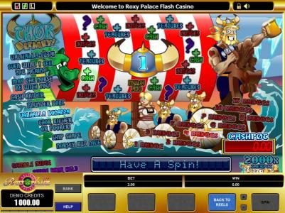 Casino Moons featuring the Video Slots Thor Blimey! with a maximum payout of $20,000