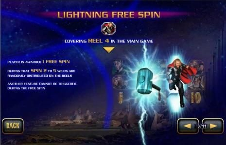 Lightning Free Spin - covering reel 4 in the main game - player is awarded 1 free spin