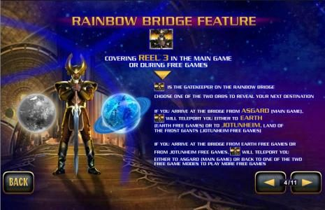 Rainbow Bridge Feature - covering reel 3 in the main game or during free games