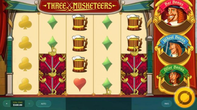 Three Musketeers :: Main game board featuring five reels and 40 paylines with a $25,000 max payout.