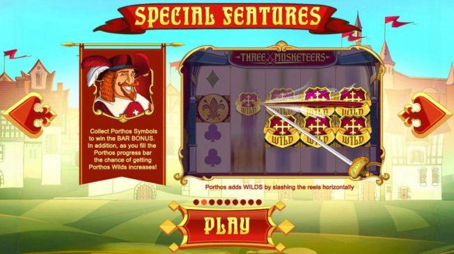 Three Musketeers :: Collect Porthos symbols to win the Bar Bonus.
