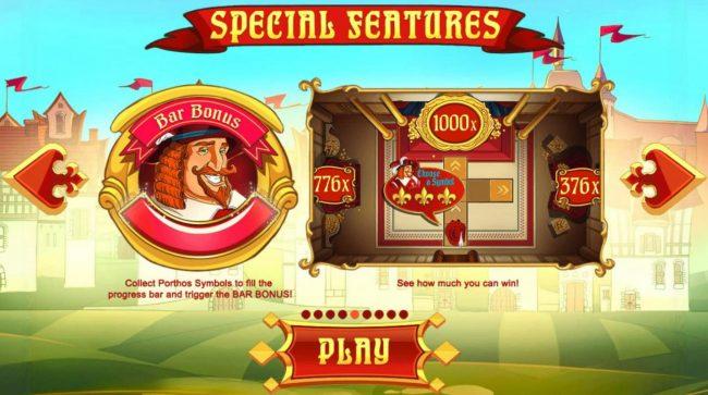 Three Musketeers :: Bar Bonus - Collect Porthos symbols to fill the progress bar and trigger the Bar Bonus.
