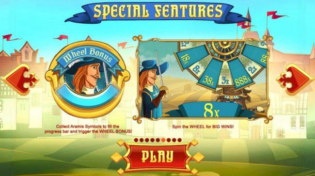 Three Musketeers :: Wheel Bonus - Collect Aramis symbols to fill the progress bar and trigger the Wheel Bonus