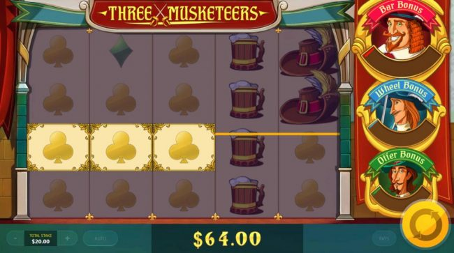 Three Musketeers :: Multiple winning paylines filled with yellow clubs symbols triggers a 64.00 payout.
