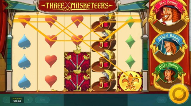 Three Musketeers :: Multiple winning paylines