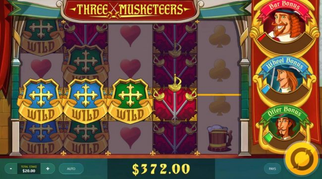 Three Musketeers :: Wild symbols forming multiple winning paylines.