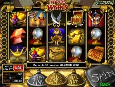 Top Bet featuring the Video Slots Three Wishes with a maximum payout of $25,000