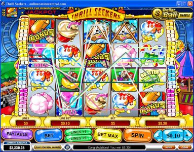 Supercasino featuring the Video Slots Thrill Seekers with a maximum payout of $200,000