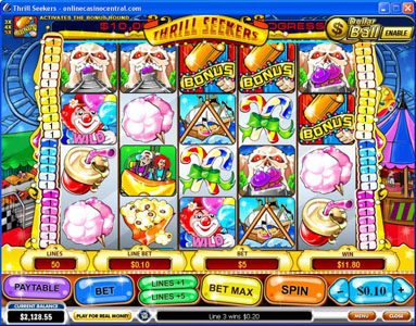 Club 777 featuring the Video Slots Thrill Seekers with a maximum payout of $200,000