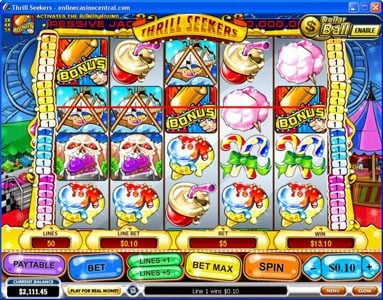 Casino King featuring the Video Slots Thrill Seekers with a maximum payout of $200,000