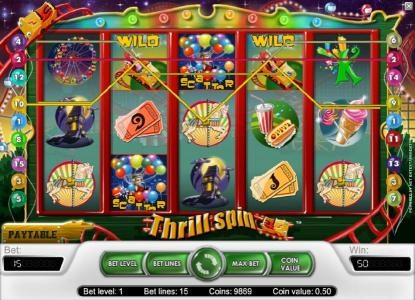Mr Green featuring the Video Slots Thrill Spin with a maximum payout of $25,000