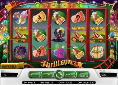 Rose Slots featuring the Video Slots Thrill Spin with a maximum payout of $25,000