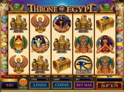 Play slots at Mummys Gold: Mummys Gold featuring the Video Slots Throne of Egypt with a maximum payout of $10,000