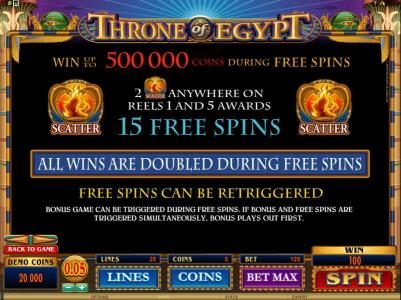 Throne of Egypt :: 2 scatter symbols anywhere on reels 1 and 5 awards 15 free spins