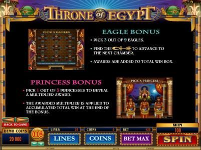 Play slots at Jackpot Paradise: Jackpot Paradise featuring the Video Slots Throne of Egypt with a maximum payout of $10,000