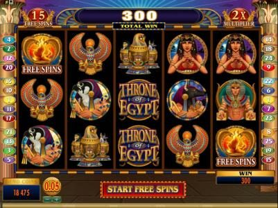Players Palace featuring the Video Slots Throne of Egypt with a maximum payout of $10,000