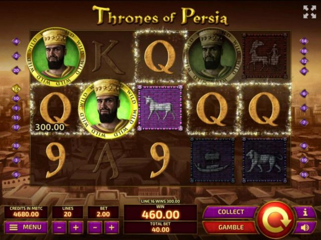 Royale24 featuring the Video Slots Thrones of Persia with a maximum payout of $10,000