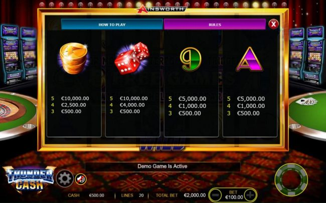 Medium Value Slot Game  Symbols Paytable - Free Games Bonus.