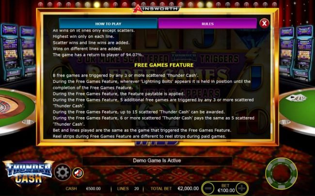 Boaboa featuring the Video Slots Thunder Cash with a maximum payout of $200,000