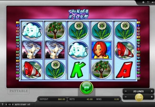 Play slots at Leo Vegas: Leo Vegas featuring the Video Slots Thunder Storm with a maximum payout of $20,000