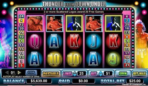 Miami Dice featuring the video-Slots Thunder from Down Under with a maximum payout of $80,000