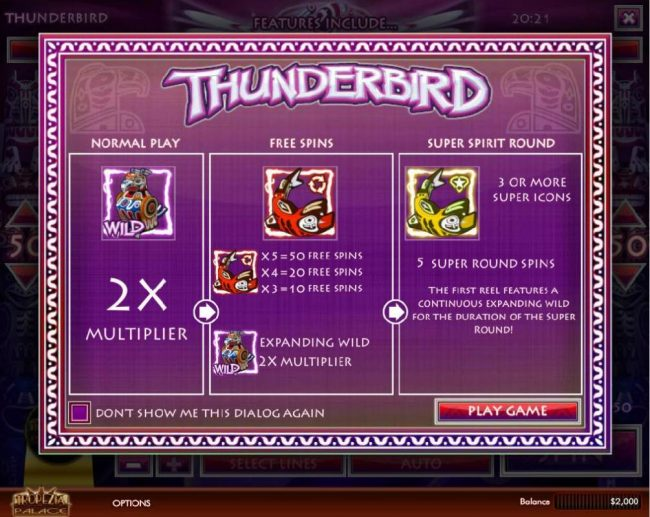 Play slots at Vive Mon Casino: Vive Mon Casino featuring the Video Slots Thunderbird with a maximum payout of $5,000