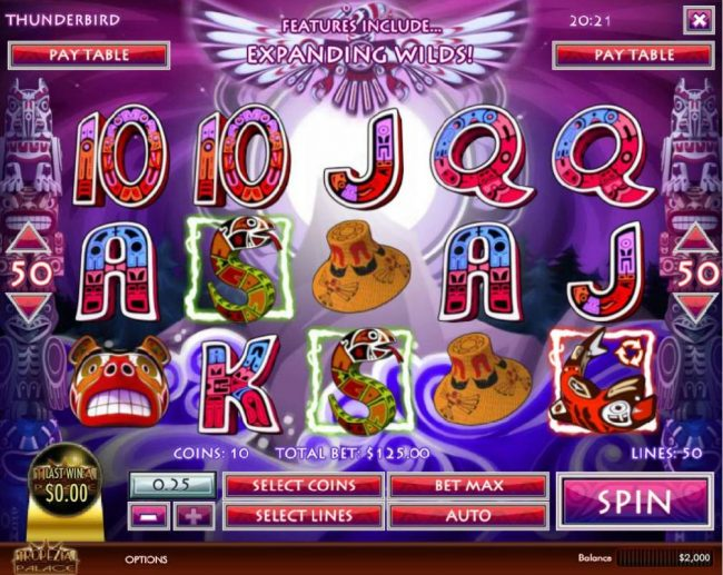 Ruby Royal featuring the Video Slots Thunderbird with a maximum payout of $5,000