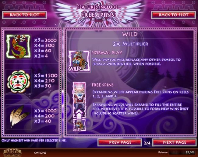 Paradise 8 featuring the Video Slots Thunderbird with a maximum payout of $5,000