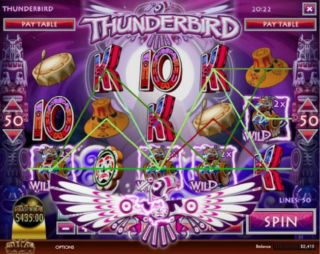 CoCoa featuring the Video Slots Thunderbird with a maximum payout of $5,000