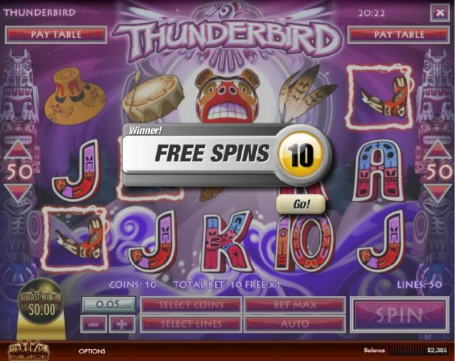 Vanguard featuring the Video Slots Thunderbird with a maximum payout of $5,000