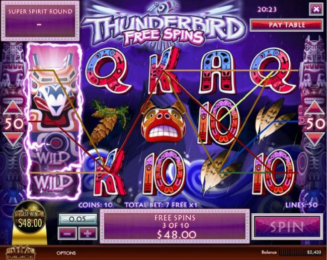 Unique Casino featuring the Video Slots Thunderbird with a maximum payout of $5,000
