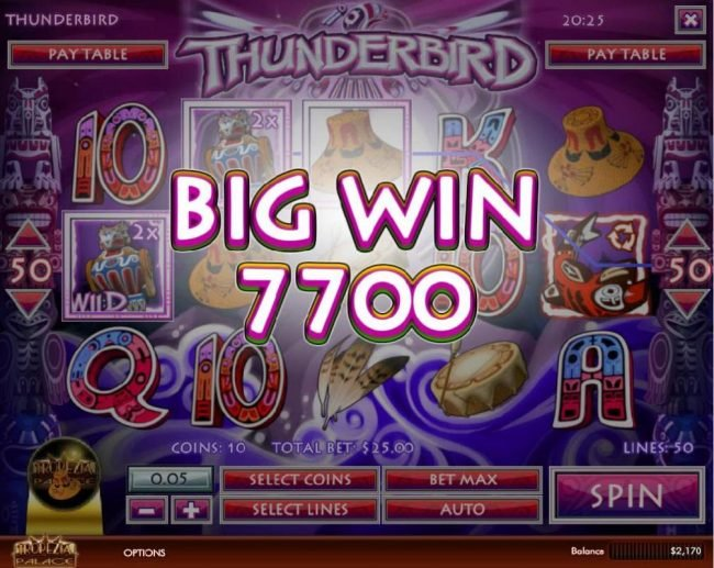 Royal Planet featuring the Video Slots Thunderbird with a maximum payout of $5,000
