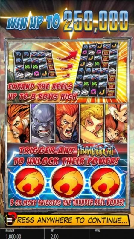 Sky Vegas featuring the Video Slots Thundercats with a maximum payout of $250,000