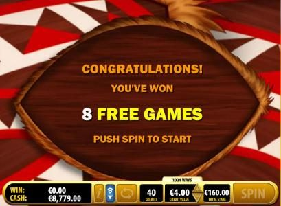 Eight free games awarded.