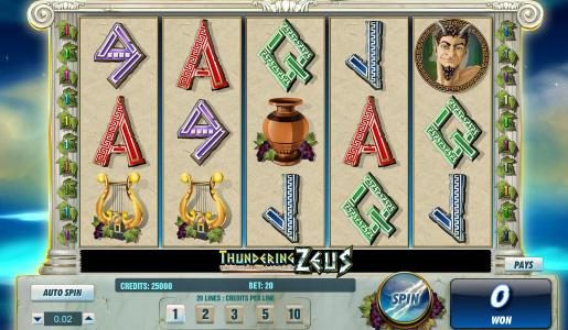 Casiplay featuring the Video Slots Thundering Zeus with a maximum payout of $100,000