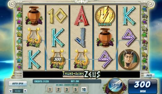 Casino Red Kings featuring the Video Slots Thundering Zeus with a maximum payout of $100,000