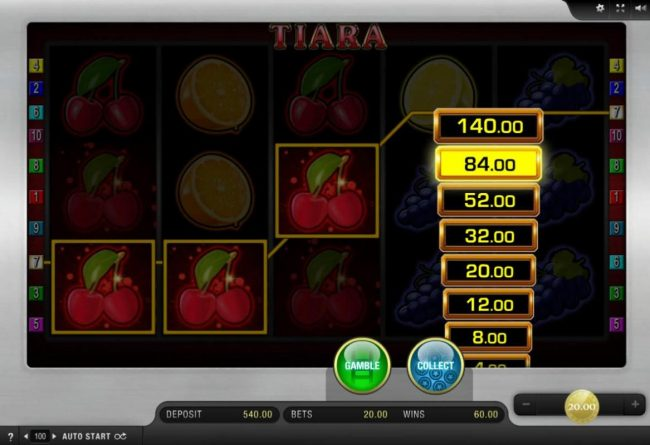 Spinrider featuring the Video Slots Tiara with a maximum payout of $3,000