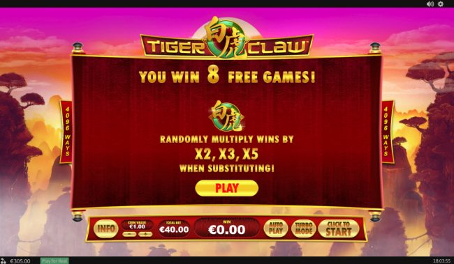 LesA Casino featuring the Video Slots Tiger Claw with a maximum payout of $80,000