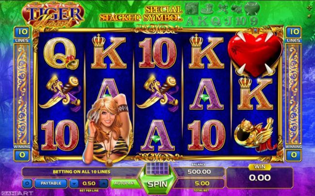 Jellybean Casino featuring the Video Slots Tiger Heart with a maximum payout of $500