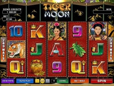 Play slots at Casino Action: Casino Action featuring the Video Slots Tiger Moon with a maximum payout of $468,000
