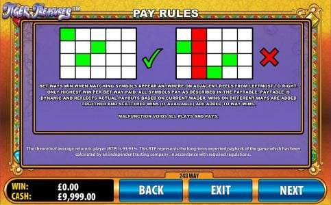 Zinger Spins featuring the Video Slots Tiger Treasures with a maximum payout of $20,000