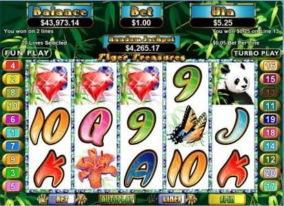Red Dog featuring the Video Slots Tiger Treasures with a maximum payout of $250,000