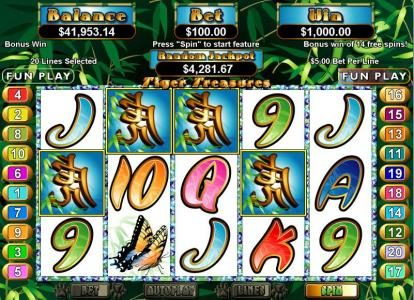 Prism featuring the Video Slots Tiger Treasures with a maximum payout of $250,000