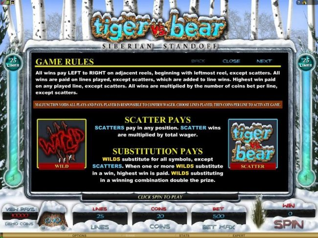 Villento featuring the Video Slots Tiger vs. Bear with a maximum payout of $6,000