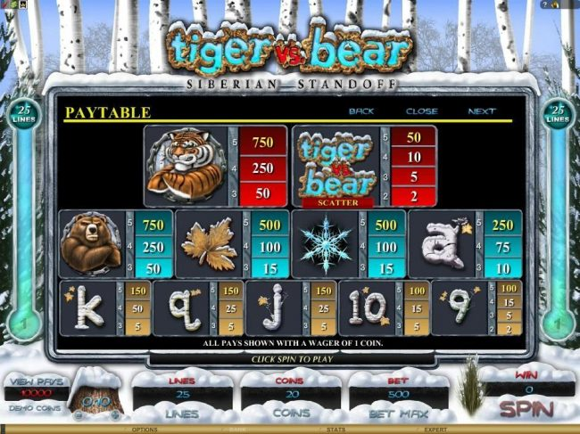 First Web featuring the Video Slots Tiger vs. Bear with a maximum payout of $6,000