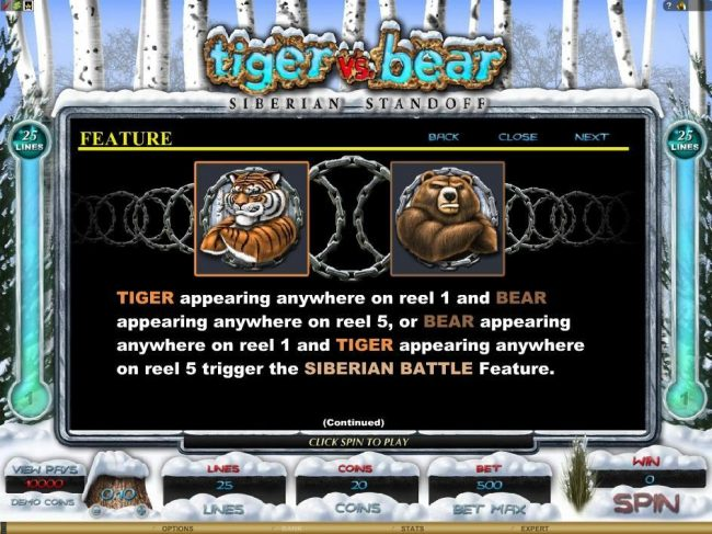 Quatro featuring the Video Slots Tiger vs. Bear with a maximum payout of $6,000