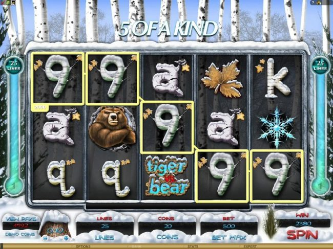 TheBesCasino featuring the Video Slots Tiger vs. Bear with a maximum payout of $6,000
