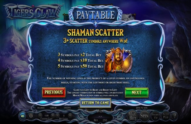 Come On featuring the Video Slots Tigers Claw with a maximum payout of $800,000